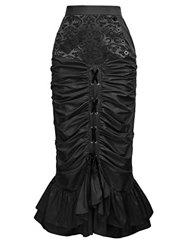 Belle Poque Women's Steampunk Victorian Mermaid Skirt Elastic Waist Button Front Size XL Black (Halloween Costume Black Skirt)