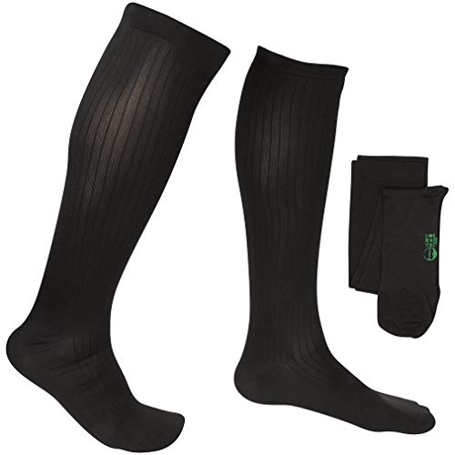 EvoNation Men's Travel USA Made Graduated Compression Socks 8-15 mmHg Mild Pressure Medical Quality Knee High Orthopedic Support Stockings Hose – Best Comfort, Fit, Circulation (Medium, Black)