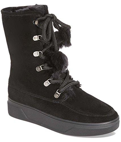 Michael Michael Kors Women's Juno Faux Fur Lace Up Boots, Black, 10 B(M) US