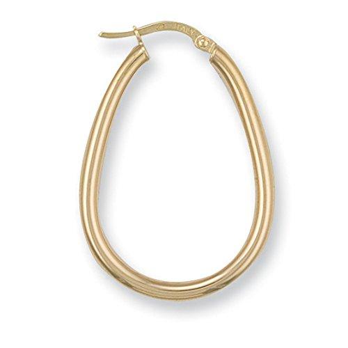 9ct or jaune ovale Boucles d'oreilles créoles tube 1.7G