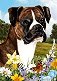 "Boxer Brindle Uncropped Dog – Tamara Burnett Summer Flowers House Dog Breed Flag 28"" x 40"""