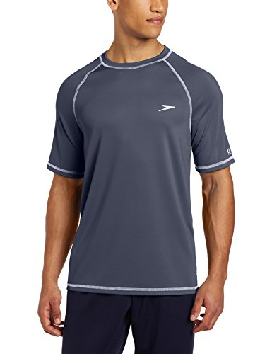 Speedo Men's Easy Short Sleeve Swim Tee, Granite, Large by Speedo