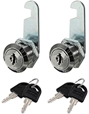 Cabinet Locks, Durable Cam Lock with Keys, Locker Locks for Drawer, Cupboard, Mailbox, 2PCS