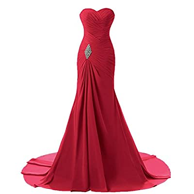 Lemai Long Mermaid Chiffon Corset Prom Dress Crystals Brooch Evening Party Gowns