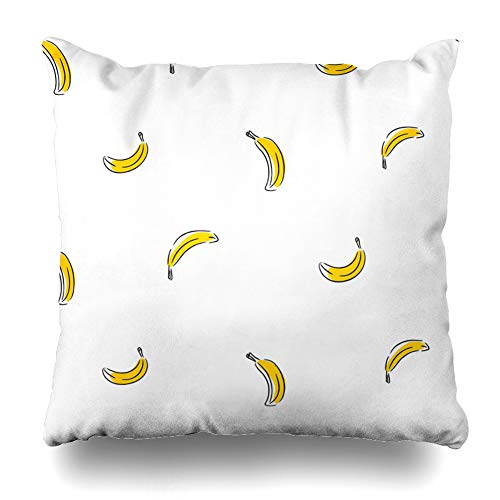 Ahawoso Throw Pillow Cover Pillowcase Organic Yellow Banana Tiny Abstract Food Drink Exotic Color Continuous Crop Cute Delicious Design Zippered Square Size 18 x 18 Inches Home Decor Cushion Case