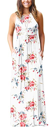 GRECERELLE Women's Casual Loose Long Dress Sleeveless Floral Print Maxi Dresses with Pockets FP White-L
