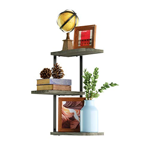 Love-KANKEI Corner Shelf Wall Mount-3 Tier Rustic Wood Floating Shelves Bedroom Living Room Bathroom Kitchen Weathered Grey