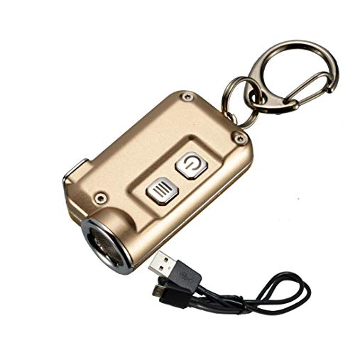 Nitecore TINI 380 Lumens USB Rechargeable Keychain Flashlight with Lumen Tactical Charging Cable (Gold)