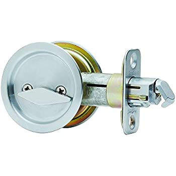Kwikset 335 32 RND PCKT DR LCK Round Bed/Bath Pocket Door Lock, Polished