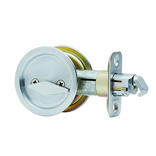 Kwikset 335 32 RND PCKT DR LCK Round Bed/Bath Pocket Door Lock, Polished Stainless Steel