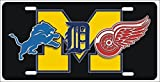 Detroit Michigan Sport Teams Combined Logos Novelty Front License Plate Lions, Tigers, Red Wings Decorative Car Tag can also be used as a door sign