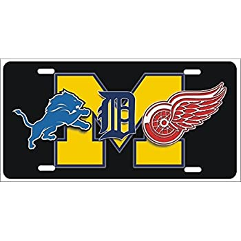 This Item Detroit Michigan Sport Teams Combined Logos Novelty Front License Plate Lions Tigers Red Wings Decorative Car Tag Can Also Be Used As A Door