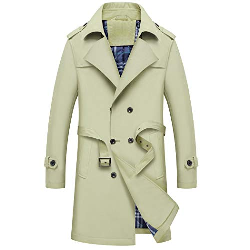WULFUL Men's Double Breasted Trench Coat Business Casual Windbreaker Mid-Long Jacket with Belt Khaki -