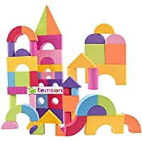 TEMSON Colorful Non-Toxic Waterproof 52 PCs EVA Foam Building Blocks with Carry Bag Creative Construction Toy for Kids Early Education Toy for Toodler (52 Pcs)
