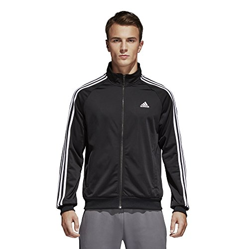 adidas Men's Essentials 3-Stripe Tricot Track Jacket, Black/White, -