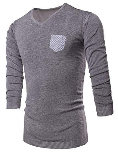 Chemises Fit V Pulls Longues Retro Slim Neck 88a1 Tricoté Gris Manches Top Hommes Maille À Pull Casual xUOqtU51
