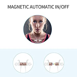 Wireless Sport Running Headphones, Bluetooth 4.1 Lightweight Stereo Earbuds with Magnetic Connection, Best Wireless Sports Stereo Sweatproof headset with Built-in Mic for iPhone 7 / 7 Plus (Rose Gold)