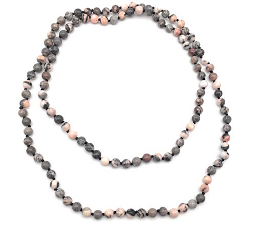 xinpeng 8mm Natural Stone Gemstone Long Beaded Necklace Wrap Bracelet Handmade Jewelry for Women Men (Pink - Endless Stone Multi Necklace