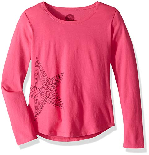 Life is Good Girls Smiling Smooth Longsleeve Tee Primal Star Athletic T Shirts, Fiesta Pink, Large