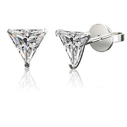 .925 Sterling Silver Hypoallergenic Cubic Zirconia Triangle Shape Stud Earrings, 7mm