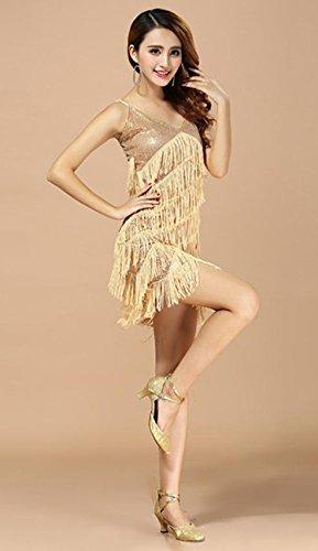 Disfraces de GYX Nueva hembra Cantantes Correa de lentejuelas con flecos vestido de vestidos de baile