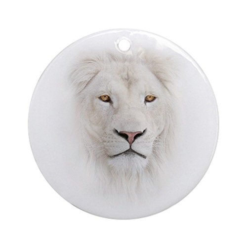 CafePress White Lion Head Round Holiday Christmas Ornament