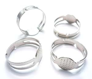 silver metal blank rings base findings diy