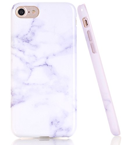 BAISRKE White Purple Marble Design Clear Bumper TPU Soft Rubber Silicone Cover Phone Case Compatible with iPhone 7 (2016) / iPhone 8 (2017) [4.7 inch]