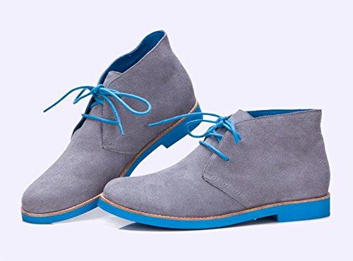 EU39 tacón bajo de de Ma US8 las cordones Spring redondas CN39 Dingxue y individuales UK6 botas de Ms con señorita otoño zapatos los botas Aq1vP4w4x