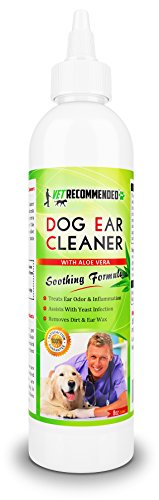 Vet Recommended - Dog Ear Cleanser - With Natural Aloe Vera for Dog Ear Infection. Perfect Dog Ear Cleaner For Yeast Infection and Bacteria - Made in USA (8oz/240ml)