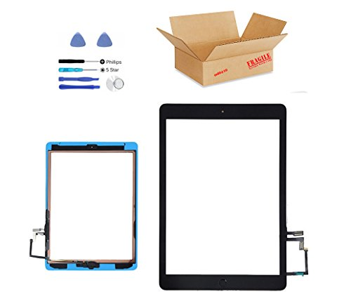 (md0410) Black front Digitizer Glass Lens Touch Screen Full Complete Assembly Replacement Compatible Ipad Air A1474, A1475, A1476 (Camera Holder, Adhesive, White Home Button Flex Set) Repair Tool Kit - Complete Button Set