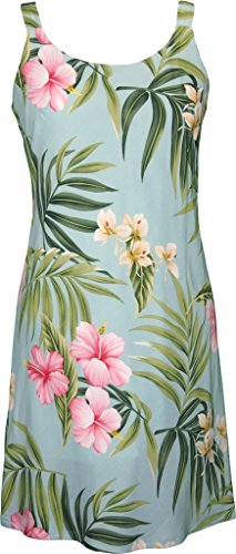 RJC Women's Breathtaking Island Getaway Short Hawaiian Bias Cut Slip Dress Aqua - Slip Bias