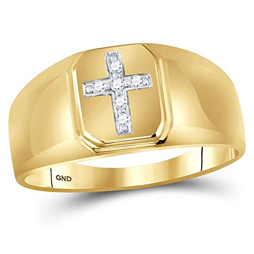 - 10kt Yellow Gold Mens Round Diamond Christian Cross Brushed Band Ring 1/20 Cttw