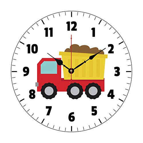 Cute Dump Truck Construction Vehicle Boys Room Nursery Wood Clock for Bedroom Decor Battery Operated Silent Non-Ticking 12 Inches Kids Clock