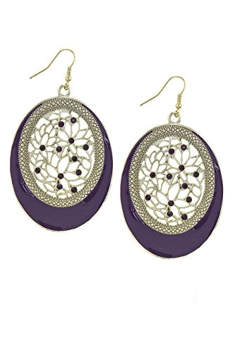 KARMAS CANVAS CRYSTAL ACCENT FLOWER CARVED OVAL DROP EARRINGS (Purple) (Hoop Gold Small Trifari)