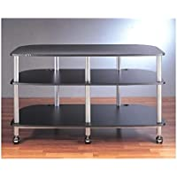 AR Series Mobile LCD TV Stand (Black w Black Shelf)