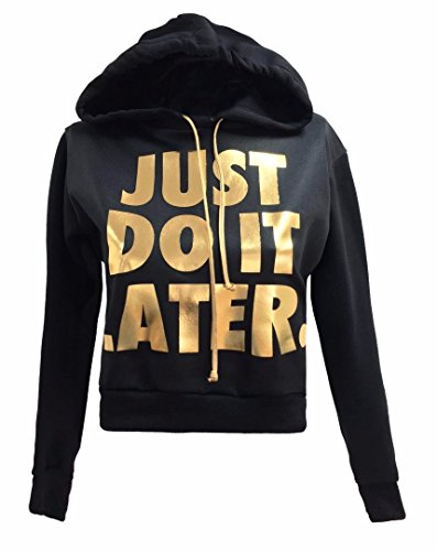 Forever Womens Stylish Gold Foil Slogan Printed Crop Hooded Top & Leggings