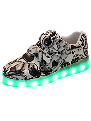 Light Up Shoes Led Sneakers Light USB Charge Best Gift For Boys Girls Christmas gift(Black 10 M US (Black Strappy Girls Costumes Heel Shoes)