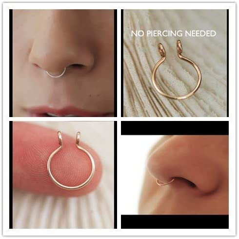Amazon Com Duan Fake Septum Nose Ring Fake Nose Rings Gold And Silver Fake Body Jewelry No Piercing Needed Set Of