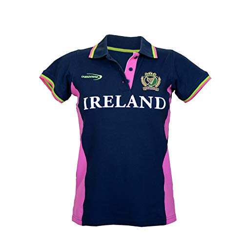 Ladies Fitted Short Sleeved Rugby Shirt with Pink & Green Stipes, Navy colour Navy Medium