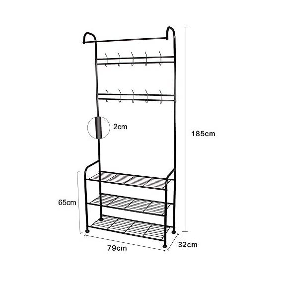 LENTIA Entryway Coat Rack Hall Tree Shoe Bench 3 in 1 Design Metal Storage Rack with Bag Coat Hat Umbrella Shoe Rack Fits Your Hallway entryway Bedroom and Dressing Room Easy Assembly (Gem Black) - Sturdy and Durable Structure: LENTIA multifunctional hanging clothes racks is made up of high quality and rust-resistant metal, which is really durable. No worry about tipping over. 3-IN-1 Designed: Perfectly combined with coat rack、storage shelf and shoes bench for your daily storage needs. The top rod provides space to hang your clothes, and the 2 extra shelves can be used to store your shoes, handbags, boxes or more accessories, which would save much space for your home and keep the entryway neat and tidy. Modern Style: Simple and elegant design make a relaxed and comfortable aesthetic, absolutely suitable for your hallway, front door, living room, bedroom and dressing room. - hall-trees, entryway-furniture-decor, entryway-laundry-room - 41dslZnEUJL. SS570  -