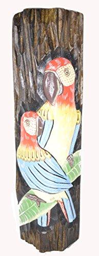Beautiful Wood Log with Double Parrots Bird Sculpture Statue Wall Art Home Decor ()