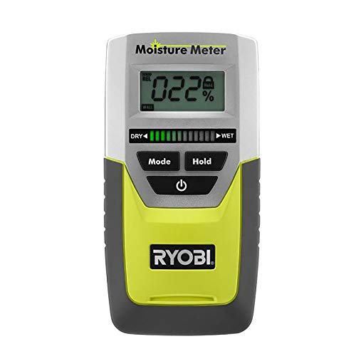 Ryobi E49MM01 Digital LED Pinless Moisture Meter for Softwood, Drywall, and Masonry 9 Volt Battery Included