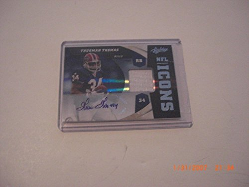 Thurman Thomas Bills 2011 Absolute Game Used Jersey Auto 03/10 Signed Card - Football Game Used Cards