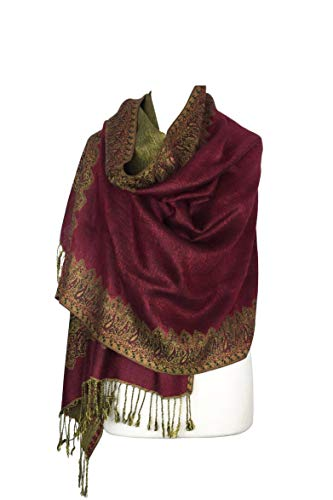 Paskmlna Border Pattern Double Layered Reversible Woven Pashmina Shawl Scarf Wrap Stole (#03burgundy)