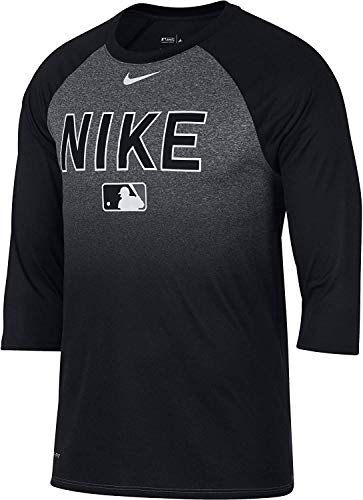 Nike Men's Legend Raglan ¾-Sleeve Baseball Shirt (M, Black)