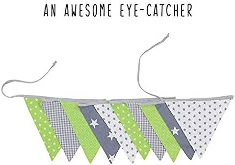 Baby Shower//Party//Nursery Polka Dot//Star//Checkered 6 Ft Unisex Blue//Grey 100/% Cotton Fabric Bunting Flag Garland Pennant Banner by ULLENBOOM
