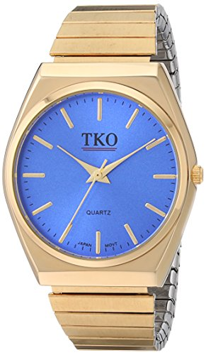 TKO Gold Blue Watch Expansion Band Stainless Steel Stretch Thin Case Blue Face Dress Flex Vintage Watch TK649BL