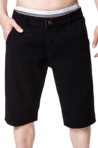 Zonsaoja Los Hombres Basic Jeans Short Denim Pantalones Casuales Mid Rise con Bolsillo Black