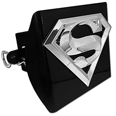 Superman emblem on black Hitch Cover (hitch pin included): Automotive